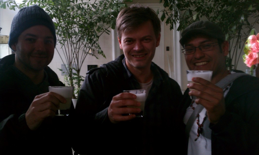Nolan Haener, Lee Jones and Miguel Solari drinking Pisco Sours at La Mar in SF, March 2011