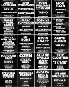 Housepitality lineups Summer and Spring 2016